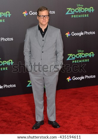 "LOS ANGELES, CA - FEBRUARY 17, 2016: Actor Alan Tudyk at the premiere of Disney's ""Zootopia"" at the El Capitan Theatre, Hollywood. - stock photo"