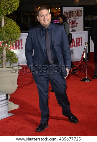 "LOS ANGELES, CA - FEBRUARY 1, 2016: Actor Jonah Hill at the world premiere of his movie ""Hail Caesar!"" at the Regency Village Theatre, Westwood.