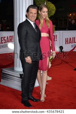 "LOS ANGELES, CA - FEBRUARY 1, 2016: Actor Josh Brolin & fiance Kathryn Boyd at the world premiere of his movie ""Hail Caesar!"" at the Regency Village Theatre, Westwood."