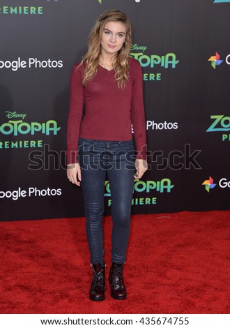 "LOS ANGELES, CA - FEBRUARY 17, 2016: Actress Brighton Sharbino at the premiere of Disney's ""Zootopia"" at the El Capitan Theatre, Hollywood.