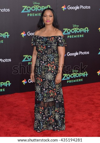 """LOS ANGELES, CA - FEBRUARY 17, 2016: Actress Garcelle Beauvais at the premiere of Disney's """"Zootopia"""" at the El Capitan Theatre, Hollywood. - stock photo"""