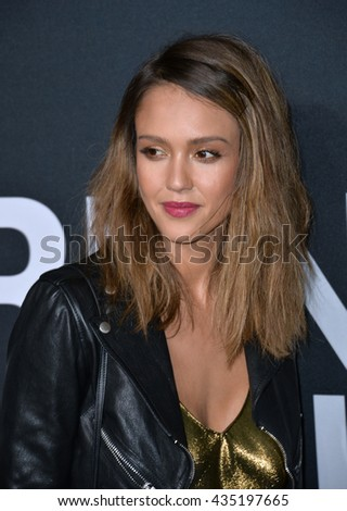 LOS ANGELES, CA - FEBRUARY 10, 2016: Actress Jessica Alba arriving at the Saint Laurent at the Palladium fashion show at the Hollywood Palladium. - stock photo