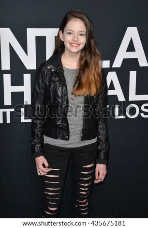LOS ANGELES, CA - FEBRUARY 10, 2016: Actress Mackenzie Foy arriving at the Saint Laurent at the Palladium fashion show at the Hollywood Palladium.