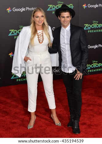 "LOS ANGELES, CA - FEBRUARY 17, 2016: Actress Veronica Dunne & actor Max Ehrich at the premiere of Disney's ""Zootopia"" at the El Capitan Theatre, Hollywood. - stock photo"