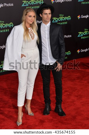 "LOS ANGELES, CA - FEBRUARY 17, 2016: Actress Veronica Dunne & actor Max Ehrich at the premiere of Disney's ""Zootopia"" at the El Capitan Theatre, Hollywood.