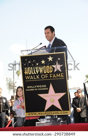 LOS ANGELES, CA - FEBRUARY 1, 2011: Adam Sandler on Hollywood Boulevard where he was honored with the 2,431st star on the Hollywood Walk of Fame.