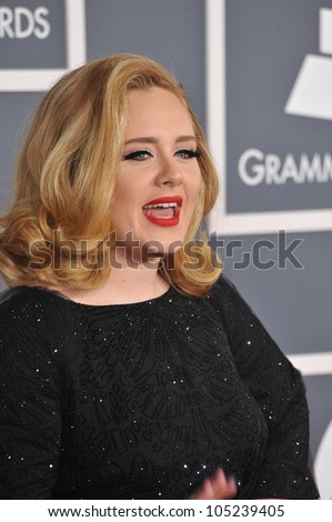 LOS ANGELES, CA - FEBRUARY 12, 2012: Adele at the 54th Annual Grammy Awards at the Staples Centre, Los Angeles. February 12, 2012  Los Angeles, CA - stock photo