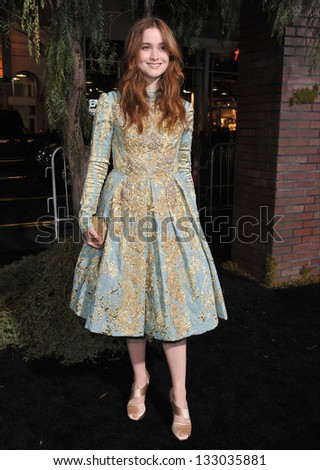 "LOS ANGELES, CA - FEBRUARY 6, 2013: Alice Englert at the world premiere of her movie ""Beautiful Creatures"" at the Chinese Theatre, Hollywood. - stock photo"