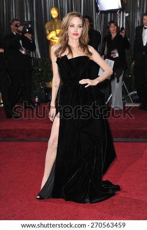 LOS ANGELES, CA - FEBRUARY 26, 2012: Angelina Jolie at the 84th Annual Academy Awards at the Hollywood & Highland Theatre, Hollywood.  - stock photo