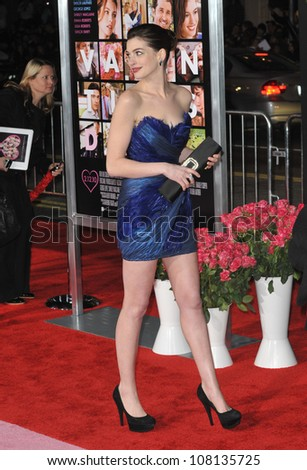 """LOS ANGELES, CA - FEBRUARY 8, 2010: Anne Hathaway at the world premiere of her new movie """"Valentine's Day"""" at Grauman's Chinese Theatre, Hollywood. - stock photo"""