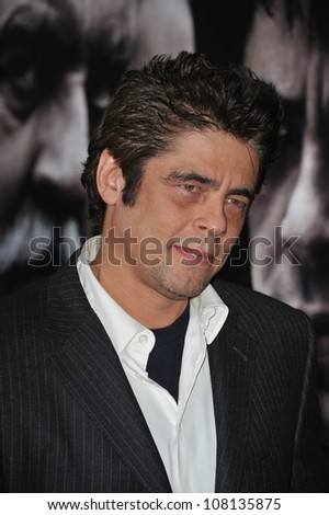 "LOS ANGELES, CA - FEBRUARY 9, 2010: Benicio Del Toro at the US premiere of his new movie ""Wolfman"" at the Arclight Theatre, Hollywood."
