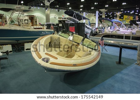 LOS ANGELES, CA. - FEBRUARY 7: Boat on display at the Los Angeles Boat Show on February 7, 2014 at the L.A. Convention Center in Los Angeles.