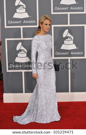 LOS ANGELES, CA - FEBRUARY 12, 2012: Carrie Underwood at the 54th Annual Grammy Awards at the Staples Centre, Los Angeles. February 12, 2012  Los Angeles, CA