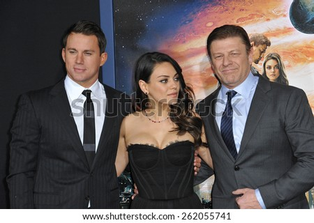 """LOS ANGELES, CA - FEBRUARY 2, 2015: Channing Tatum (left), Mila Kunis & Sean Bean at the Los Angeles premiere of their movie """"Jupiter Ascending"""" at the TCL Chinese Theatre, Hollywood.  - stock photo"""