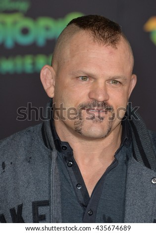 "LOS ANGELES, CA - FEBRUARY 17, 2016: Chuck Liddell at the premiere of Disney's ""Zootopia"" at the El Capitan Theatre, Hollywood.