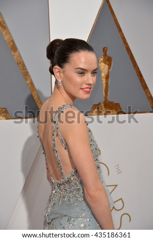 LOS ANGELES, CA - FEBRUARY 28, 2016: Daisy Ridley at the 88th Academy Awards at the Dolby Theatre, Hollywood. - stock photo