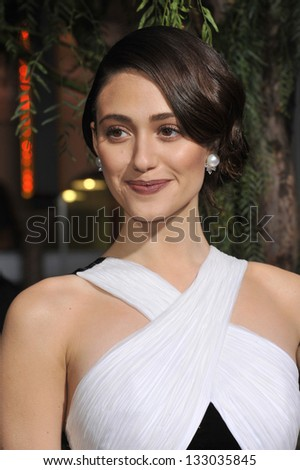 "LOS ANGELES, CA - FEBRUARY 6, 2013: Emmy Rossum at the world premiere of her movie ""Beautiful Creatures"" at the Chinese Theatre, Hollywood."