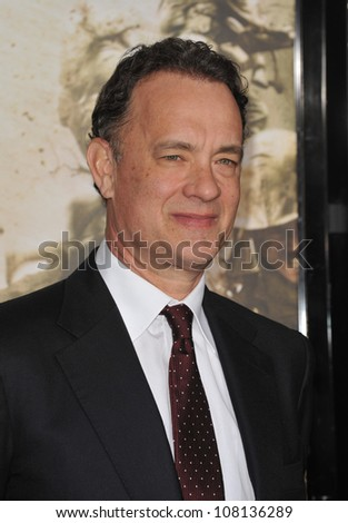 """LOS ANGELES, CA - FEBRUARY 24, 2010: Executive producer Tom Hanks at the premiere of his new HBO miniseries """"The Pacific"""" at Grauman's Chinese Theatre, Hollywood. - stock photo"""