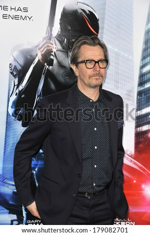 "LOS ANGELES, CA - FEBRUARY 10, 2014: Gary Oldman at the premiere of his movie ""RoboCop"" at the TCL Chinese Theatre, Hollywood."