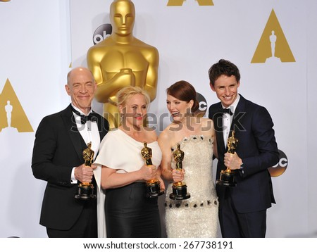 LOS ANGELES, CA - FEBRUARY 22, 2015: J.K. Simmons & Patricia Arquette & Julianne Moore  & Eddie Redmayne at the 87th Annual Academy Awards at the Dolby Theatre, Hollywood.  - stock photo