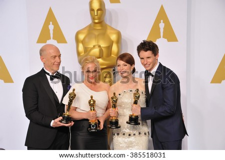 LOS ANGELES, CA - FEBRUARY 22, 2015: J.K. Simmons & Patricia Arquette & Julianne Moore  & Eddie Redmayne at the 87th Annual Academy Awards at the Dolby Theatre, Hollywood.