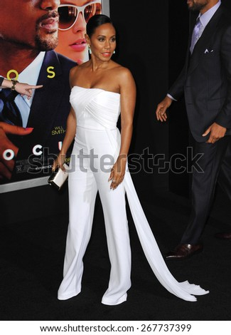 "LOS ANGELES, CA - FEBRUARY 24, 2015: Jada Pinkett Smith at the Los Angeles premiere of ""Focus"" at the TCL Chinese Theatre, Hollywood.  - stock photo"
