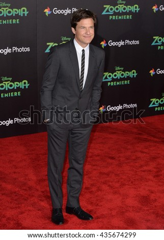 "LOS ANGELES, CA - FEBRUARY 17, 2016: Jason Bateman at the premiere of Disney's ""Zootopia"" at the El Capitan Theatre, Hollywood.