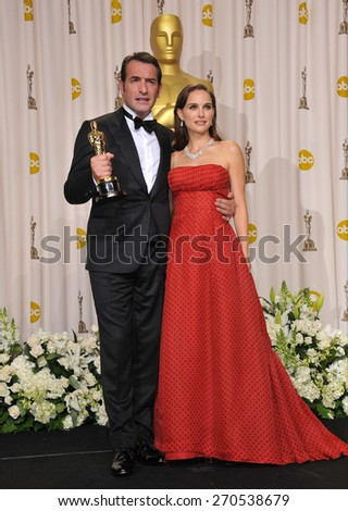 LOS ANGELES, CA - FEBRUARY 26, 2012: Jean Dujardin & Natalie Portman at the 82nd Academy Awards at the Hollywood & Highland Theatre, Hollywood.  - stock photo