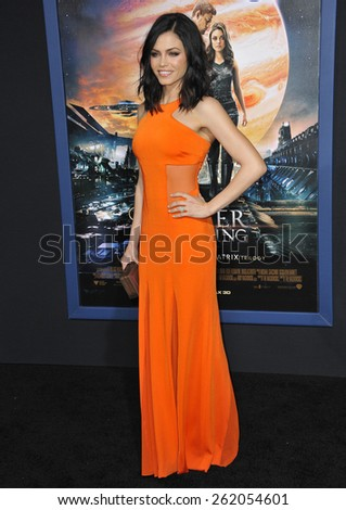 "LOS ANGELES, CA - FEBRUARY 2, 2015: Jenna Dewan-Tatum at the Los Angeles premiere of ""Jupiter Ascending"" at the TCL Chinese Theatre, Hollywood.  - stock photo"