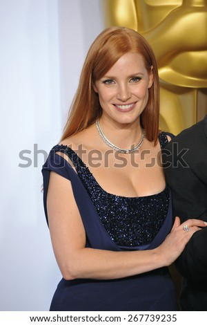 LOS ANGELES, CA - FEBRUARY 22, 2015: Jessica Chastain at the 87th Annual Academy Awards at the Dolby Theatre, Hollywood.  - stock photo