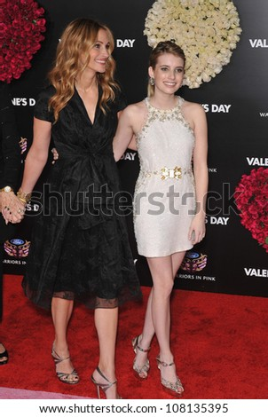"LOS ANGELES, CA - FEBRUARY 8, 2010: Julia Roberts (left) & Emma Roberts at the world premiere of their new movie ""Valentine's Day"" at Grauman's Chinese Theatre, Hollywood. - stock photo"