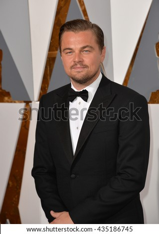 LOS ANGELES, CA - FEBRUARY 28, 2016: Leonardo DiCaprio at the 88th Academy Awards at the Dolby Theatre, Hollywood. - stock photo