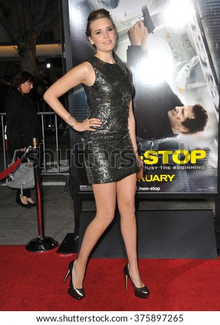 "LOS ANGELES, CA - FEBRUARY 24, 2014: Maggie Grace at the world premiere of ""Non-Stop"" at the Regency Village Theatre, Westwood."