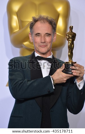 LOS ANGELES, CA - FEBRUARY 28, 2016: Mark Rylance at the 88th Academy Awards at the Dolby Theatre, Hollywood.