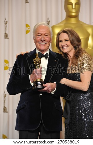 LOS ANGELES, CA - FEBRUARY 26, 2012: Melissa Leo & Christopher Plummer, winner of Best Supporting Actor for Beginners, at the 82nd Academy Awards at the Hollywood & Highland Theatre, Hollywood.  - stock photo