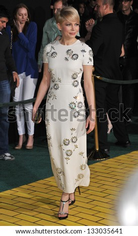 """LOS ANGELES, CA - FEBRUARY 13, 2013: Michelle Williams at the world premiere of her movie """"Oz: The Great and Powerful"""" at the El Capitan Theatre, Hollywood. - stock photo"""