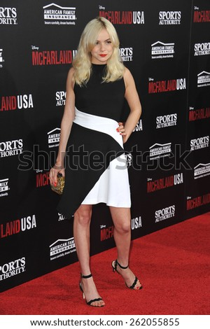 "LOS ANGELES, CA - FEBRUARY 9, 2015: Morgan Saylor at the world premiere of her movie ""McFarland USA"" at the El Capitan Theatre, Hollywood.  - stock photo"