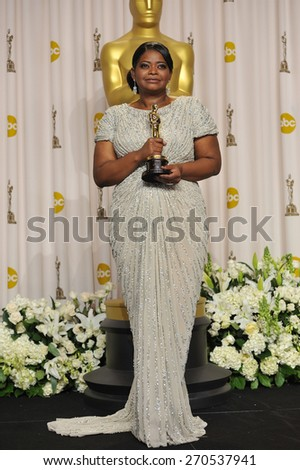 LOS ANGELES, CA - FEBRUARY 26, 2012: Octavia Spencer, winner of Best Supporting Actress for The Help, at the 82nd Academy Awards at the Hollywood & Highland Theatre, Hollywood.  - stock photo