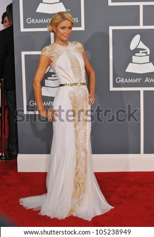LOS ANGELES, CA - FEBRUARY 12, 2012: Paris Hilton at the 54th Annual Grammy Awards at the Staples Centre, Los Angeles. February 12, 2012  Los Angeles, CA