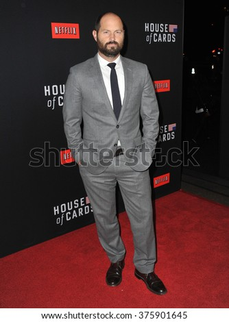 "LOS ANGELES, CA - FEBRUARY 13, 2014: Political advisor Jay Carson at the season two premiere of Netflix series ""House of Cards"" at the Directors Guild Theatre."