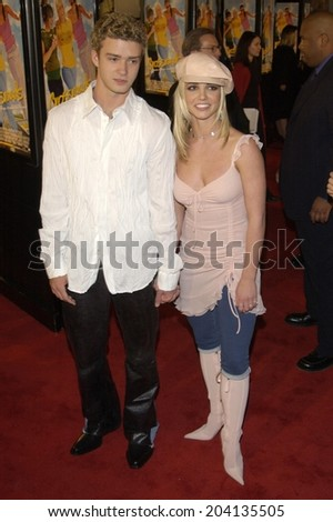 LOS ANGELES, CA - FEBRUARY 11, 2002: Pop star BRITNEY SPEARS & boyfriend *Nsync star JUSTIN TIMBERLAKE at the world premiere, in Hollywood, of her new movie Crossroads.  - stock photo