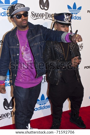 LOS ANGELES, CA - FEBRUARY 19: Rafael & David Sebastian attend the Adidas and Snoop Dogg Co-Host ASW Party at The Standard Hotel on February 19, 2011 in Los Angeles, California - stock photo