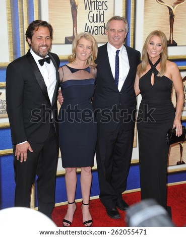 LOS ANGELES, CA - FEBRUARY 14, 2015: Screenwriter Mark Bailey (left), director Rory Kennedy & brother Robert F. Kennedy Jr. & Cheryl Hines at the 2015 Writers Guild Awards at the Century Plaza Hotel.  - stock photo