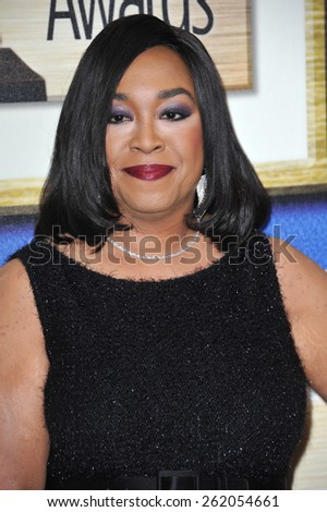 LOS ANGELES, CA - FEBRUARY 14, 2015: Shonda Rhimes at the 2015 Writers Guild Awards at the Hyatt Regency Century Plaza Hotel.  - stock photo