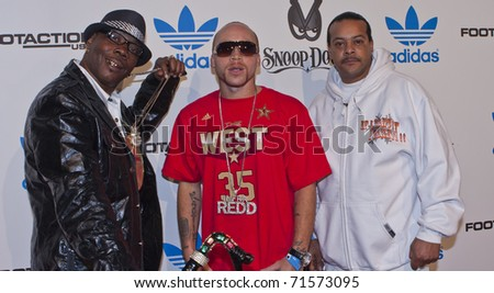 LOS ANGELES, CA - FEBRUARY 19: Suga Free (R) and Infra Redd (C) attend the Adidas and Snoop Dogg Co-Host ASW Party at The Standard Hotel on February 19, 2011 in Los Angeles, California
