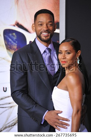 "LOS ANGELES, CA - FEBRUARY 24, 2015: Will Smith & wife Jada Pinkett Smith at the Los Angeles premiere of his movie ""Focus"" at the TCL Chinese Theatre, Hollywood."