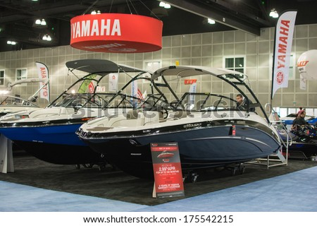LOS ANGELES, CA. - FEBRUARY 7: Yamaha boats on display at the Los Angeles Boat Show on February 7, 2014 at the L.A. Convention Center in Los Angeles.