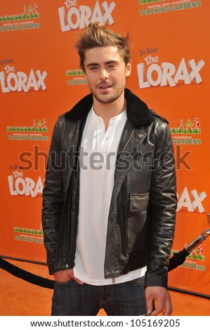 """LOS ANGELES, CA - FEBRUARY 19, 2012: Zac Efron at the world premiere of his new animated movie """"Dr. Suess' The Lorax"""" at Universal Studios, Hollywood. February 19, 2012  Los Angeles, CA - stock photo"""
