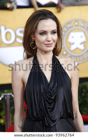 LOS ANGELES, CA - JAN 29: Angelina Jolie at the 18th annual Screen Actor Guild Awards at the Shrine Auditorium on January 29, 2012 in Los Angeles, California - stock photo