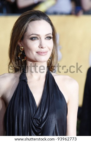 LOS ANGELES, CA - JAN 29: Angelina Jolie at the 18th annual Screen Actor Guild Awards at the Shrine Auditorium on January 29, 2012 in Los Angeles, California
